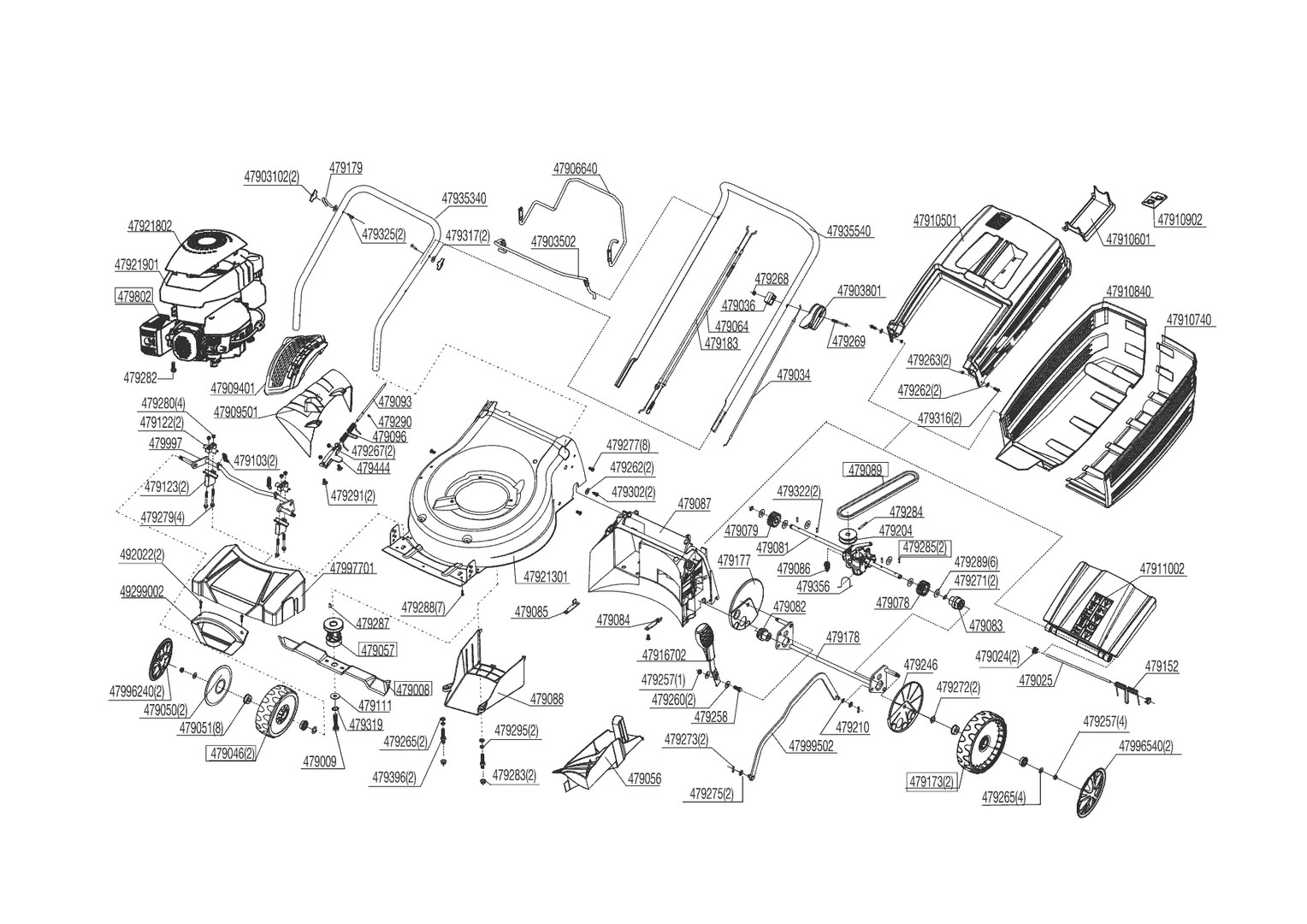 ersatzteile und zeichnung von al ko f r benzinrasenm her. Black Bedroom Furniture Sets. Home Design Ideas