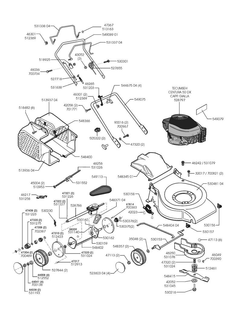 ersatzteile und zeichnung von al ko f r benzinrasenm her comfort 52. Black Bedroom Furniture Sets. Home Design Ideas