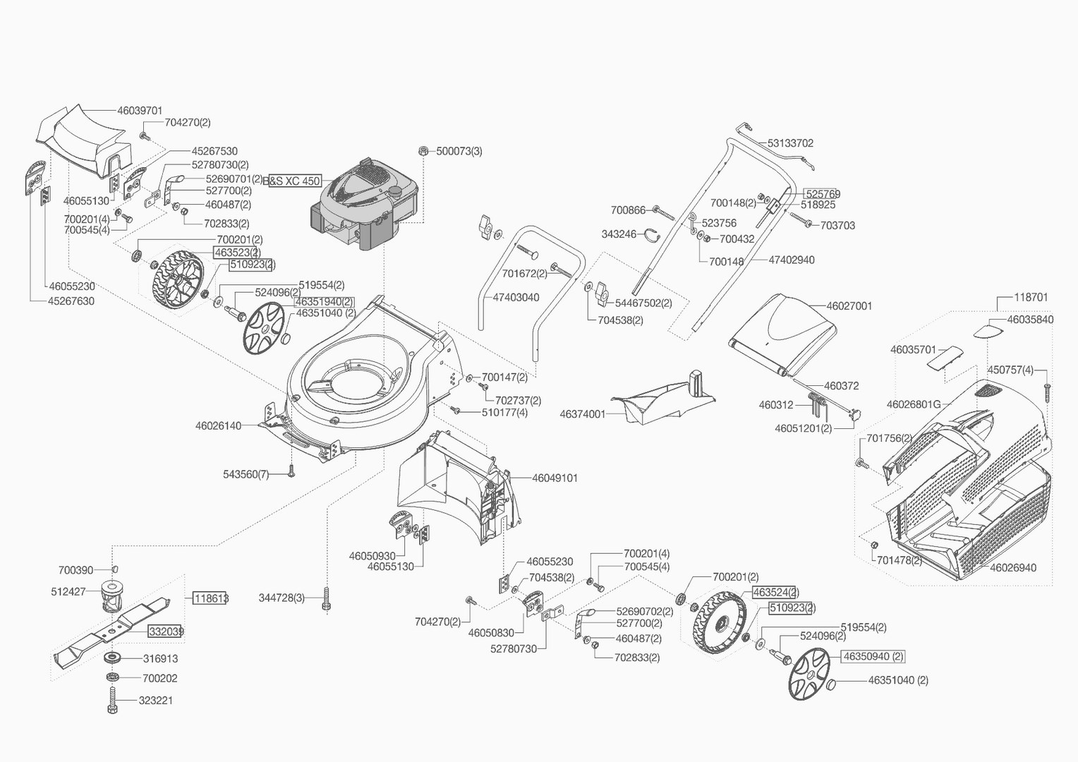ersatzteile und zeichnung von al ko f r benzinrasenm her silver comf. Black Bedroom Furniture Sets. Home Design Ideas