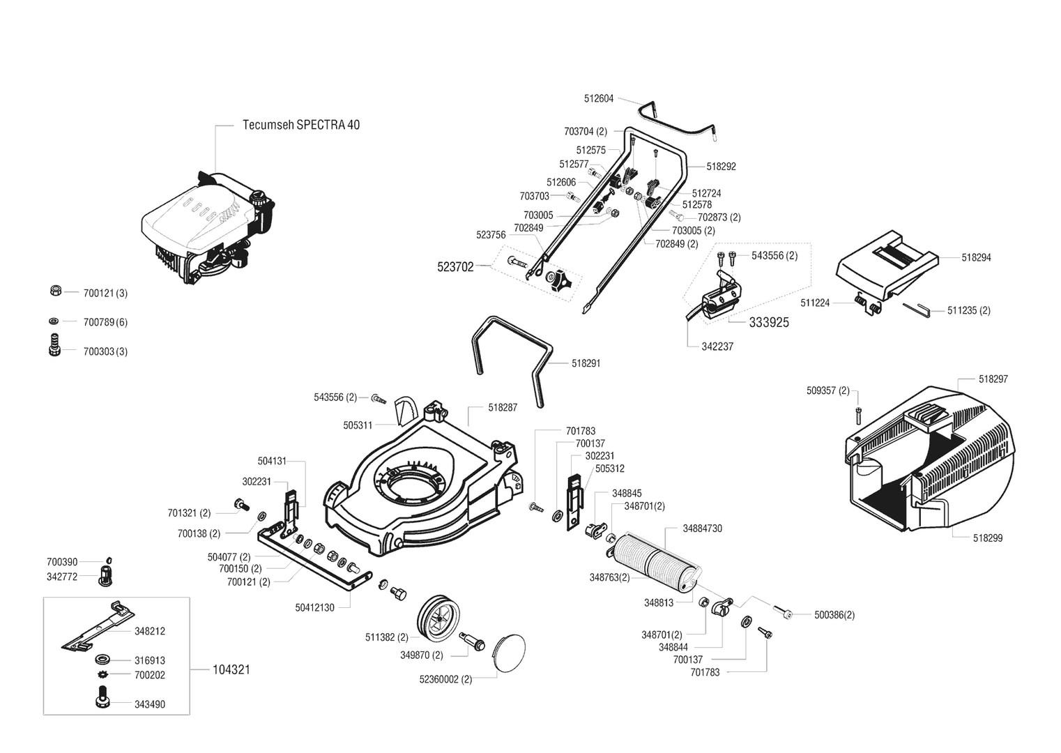 ersatzteile und zeichnung von al ko f r benzinrasenm her sunline 661. Black Bedroom Furniture Sets. Home Design Ideas
