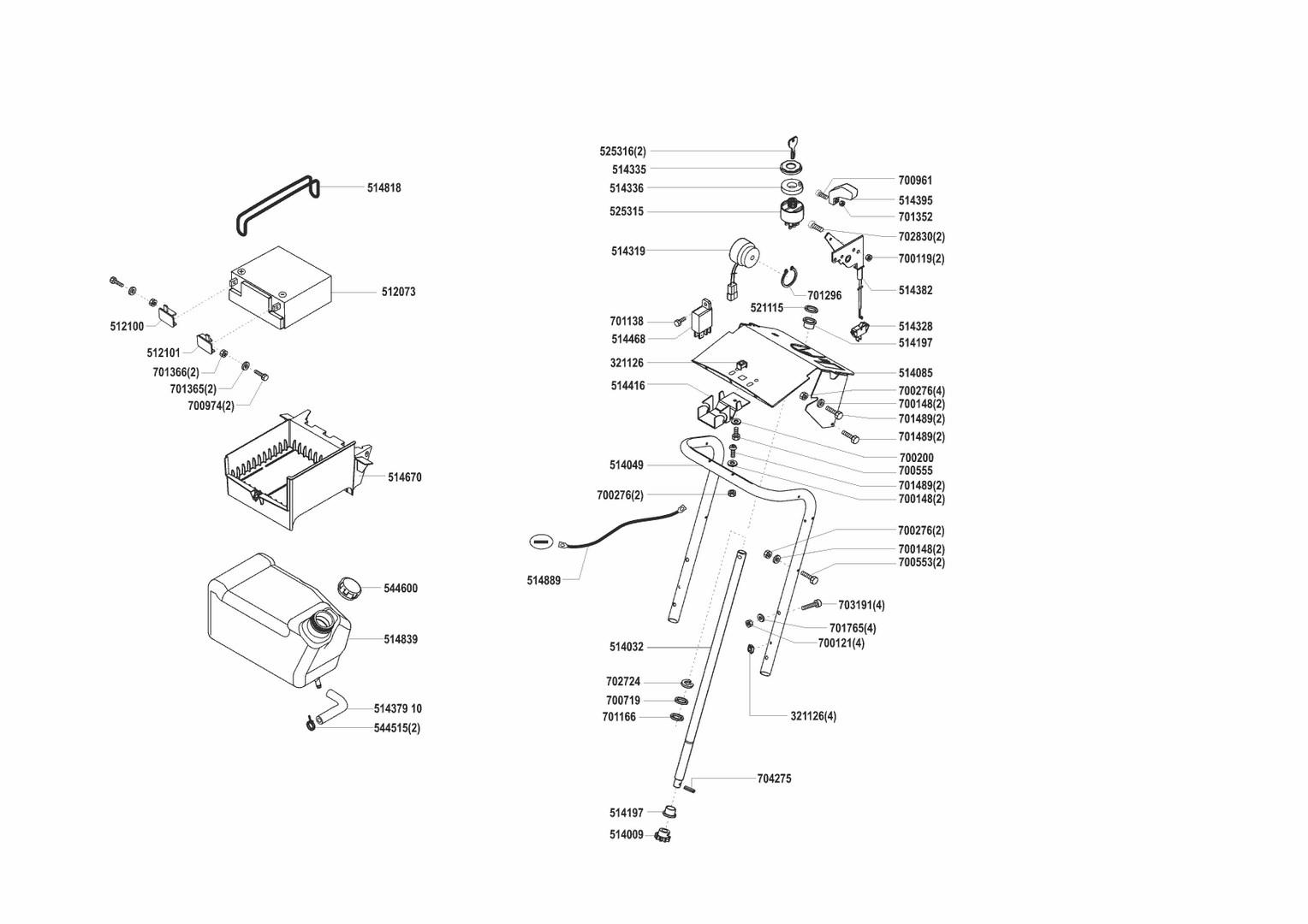 Ersatzteile und Zeichnung von AL-KO für Rasentraktor T-800 SA, Seite