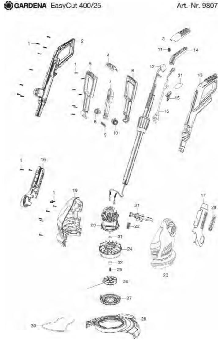 Ersatzteile Und Zeichnung Von Gardena Easycut 40025