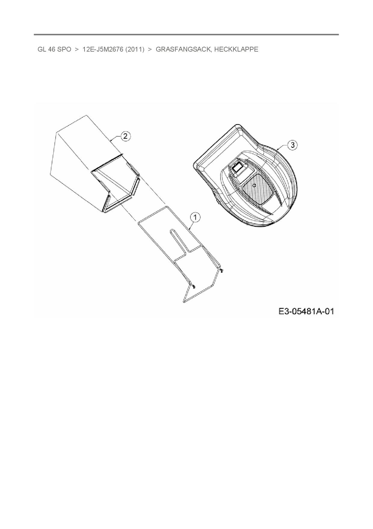 MTD Ersatzteil RAHMEN VST:GRASFANGSACK:J-DECK für Motormäher mit ...