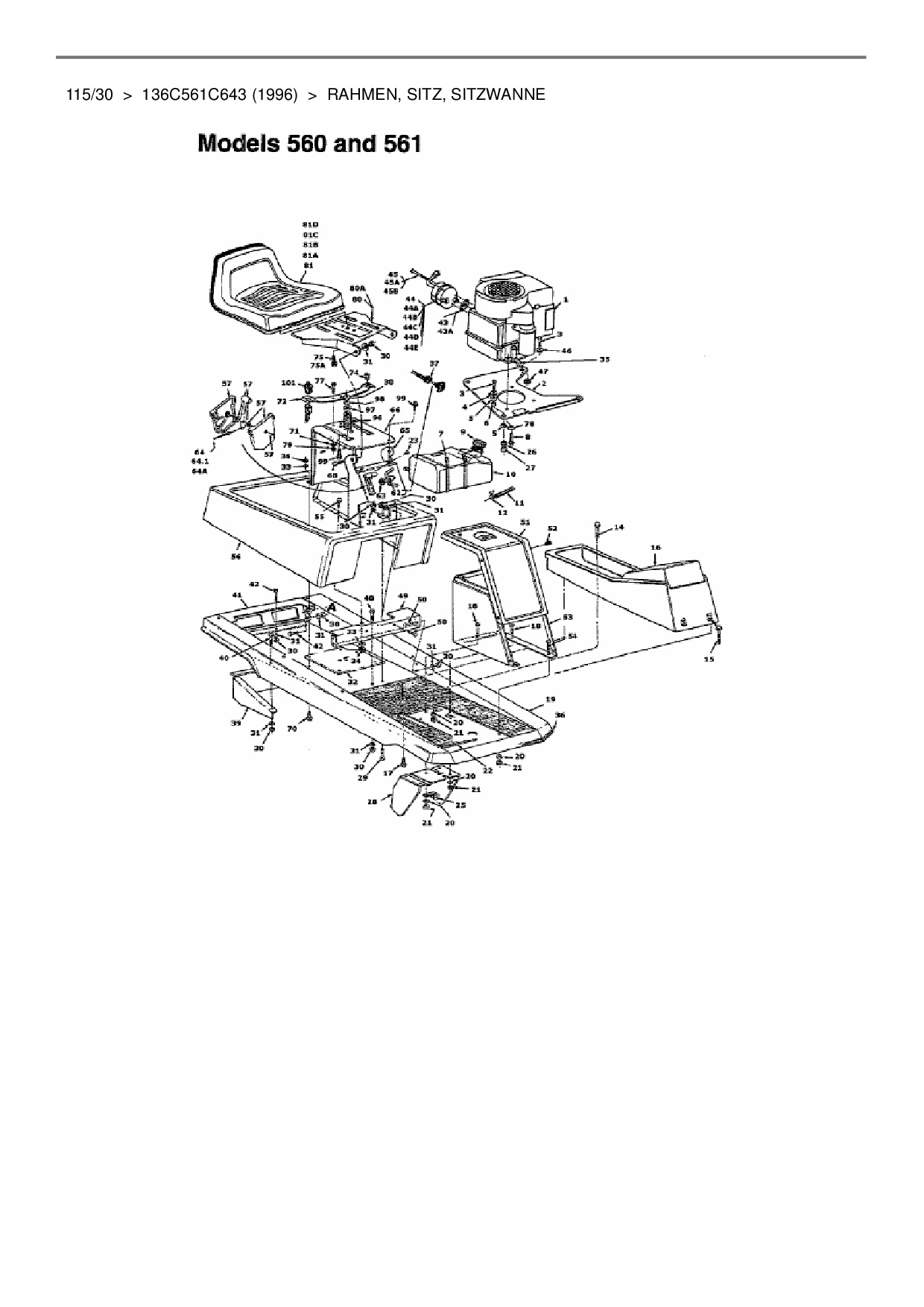 Ersatzteile von Yard-Man Rasentraktor 115/30 aus der Zeichnung Rahmen