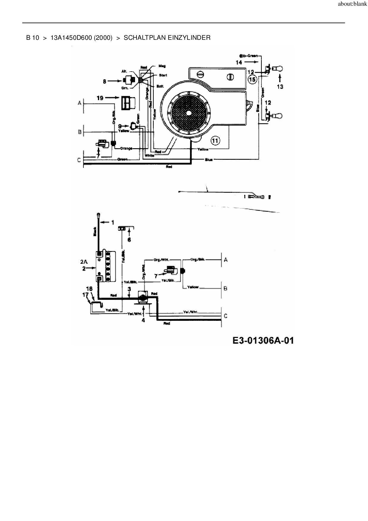 Ersatzteile von MTD Rasentraktor B 10 aus der Zeichnung Schaltplan Ei