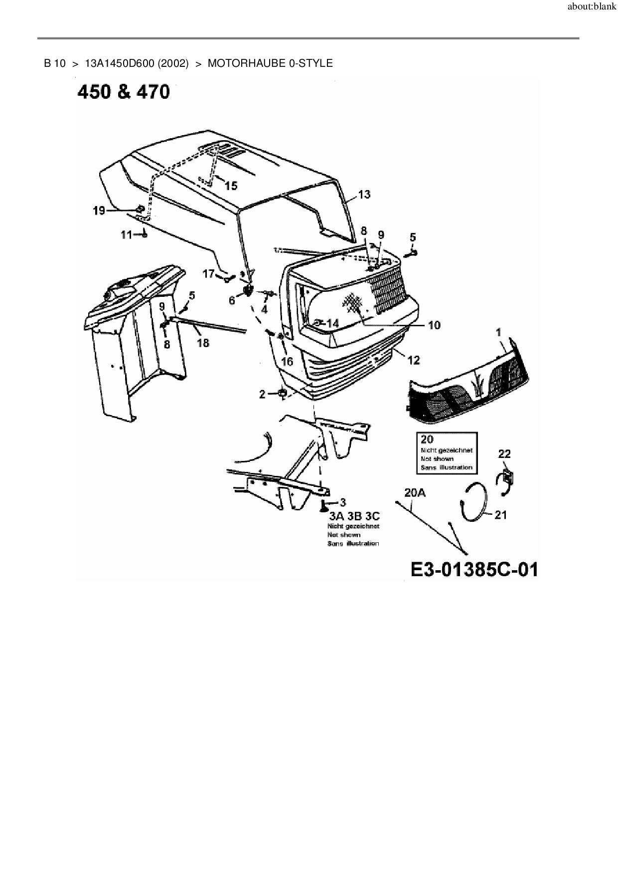 Ersatzteile von MTD Rasentraktor B 10 aus der Zeichnung Motorhaube 0-