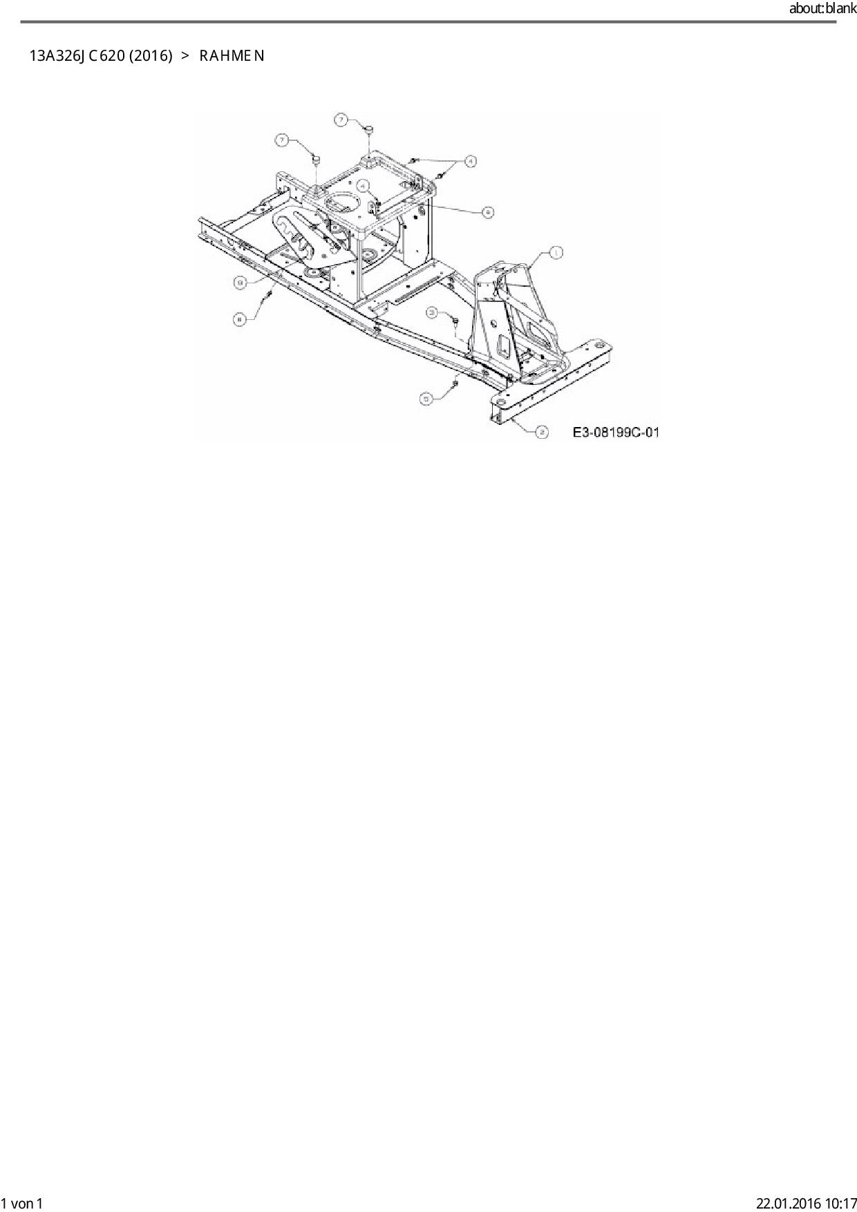 Ersatzteile von CMI Rasentraktor 60 SDE aus der Zeichnung Rahmen