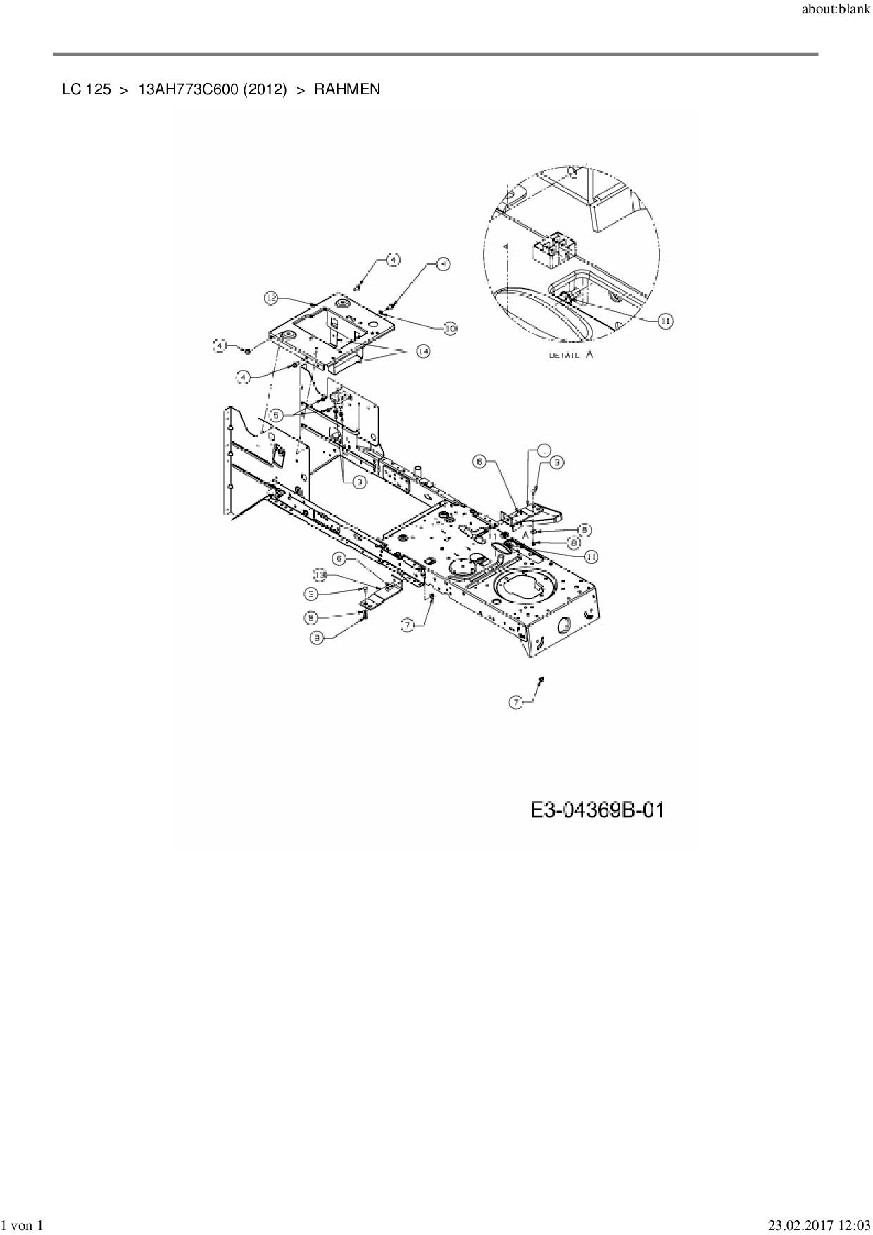 Ersatzteile von MTD Rasentraktor LC 125 aus der Zeichnung Rahmen