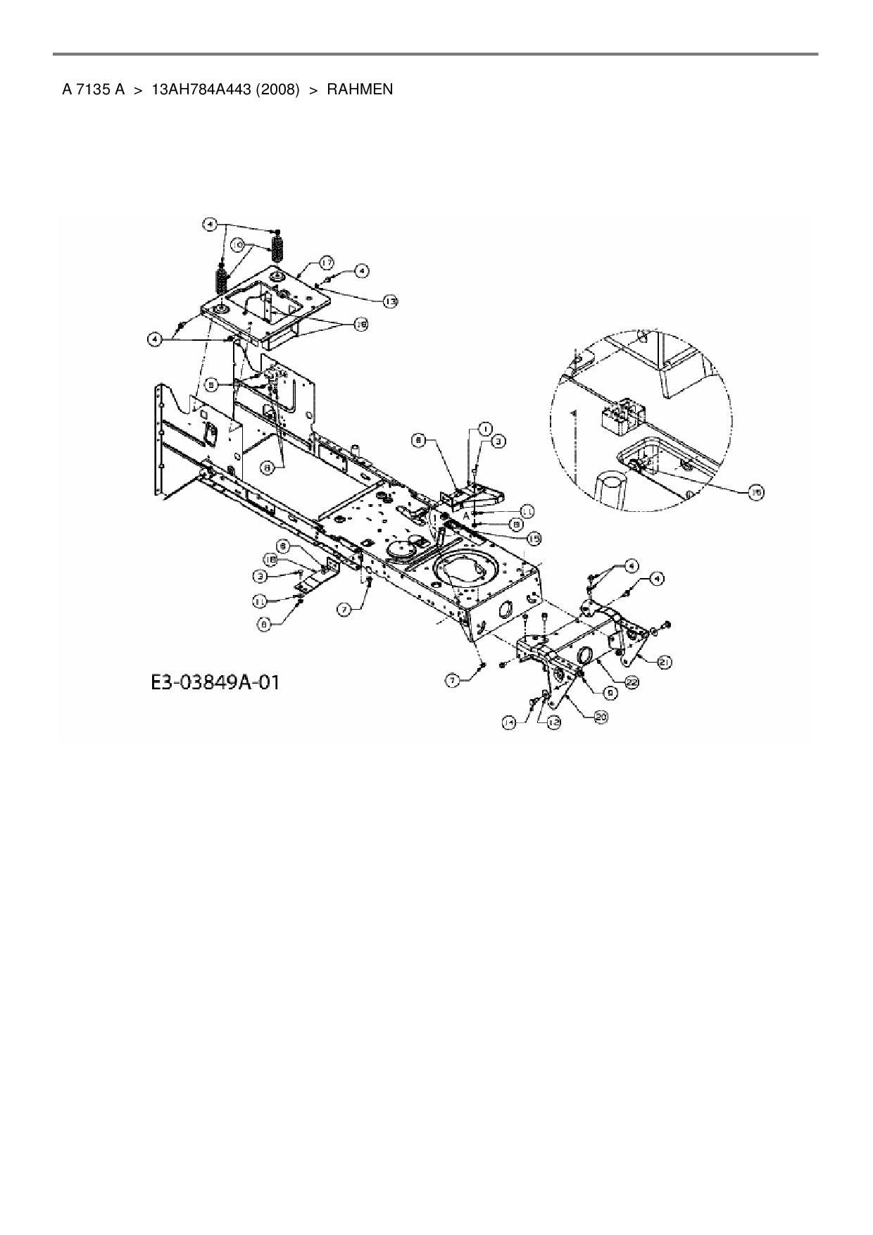 Ersatzteile von Yard-Man Rasentraktor A 7135 A aus der Zeichnung Rahm