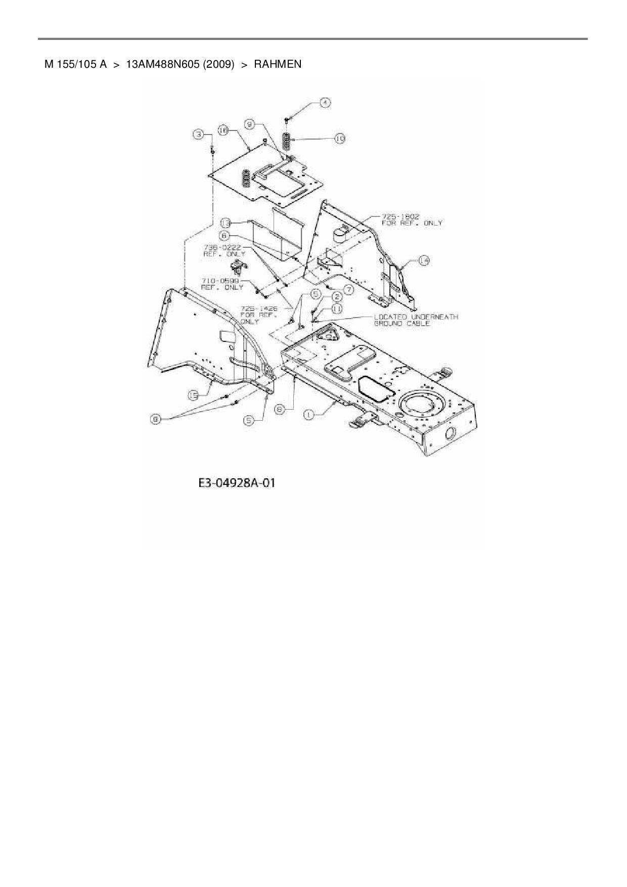 Ersatzteile von M Tech Rasentraktor M 155/105 A aus der Zeichnung Rah