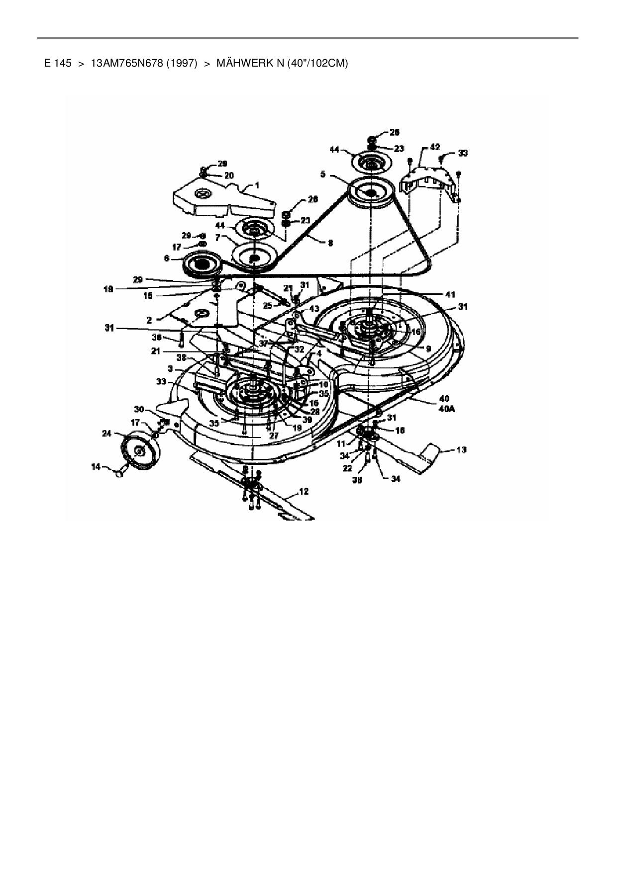 Keilriemen für MTD E 145/>13AM765N678 1997 />Mähwerk N 40//102cm