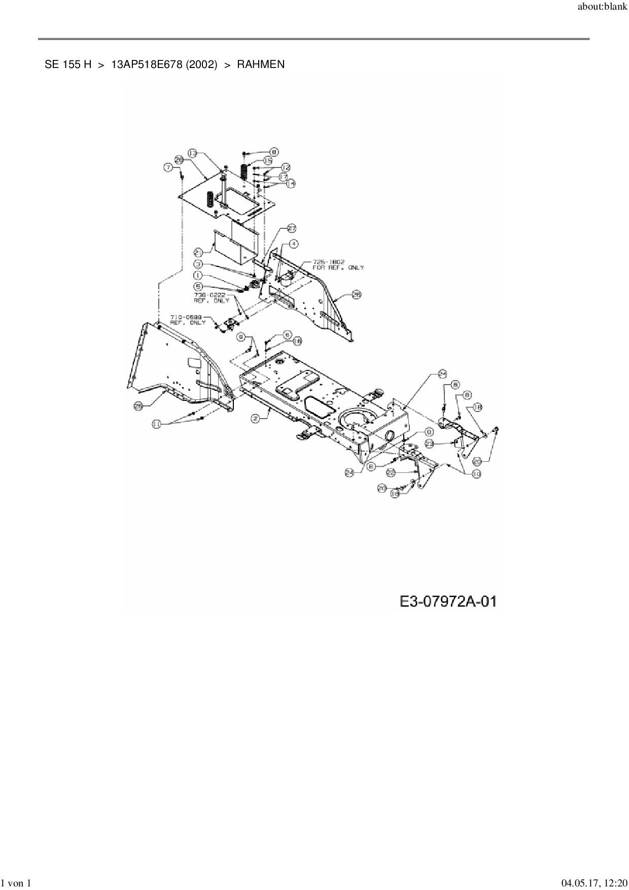 Ersatzteile von MTD Rasentraktor SE 155 H aus der Zeichnung Rahmen