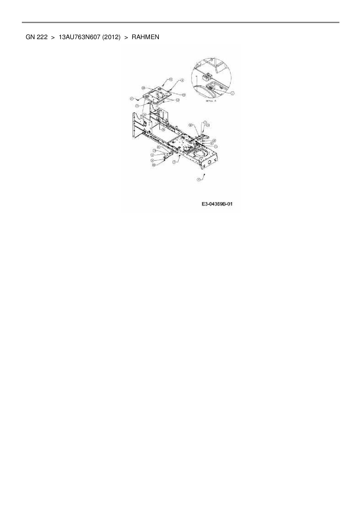 Ersatzteile von Blisar Rasentraktor GN 222 aus der Zeichnung Rahmen