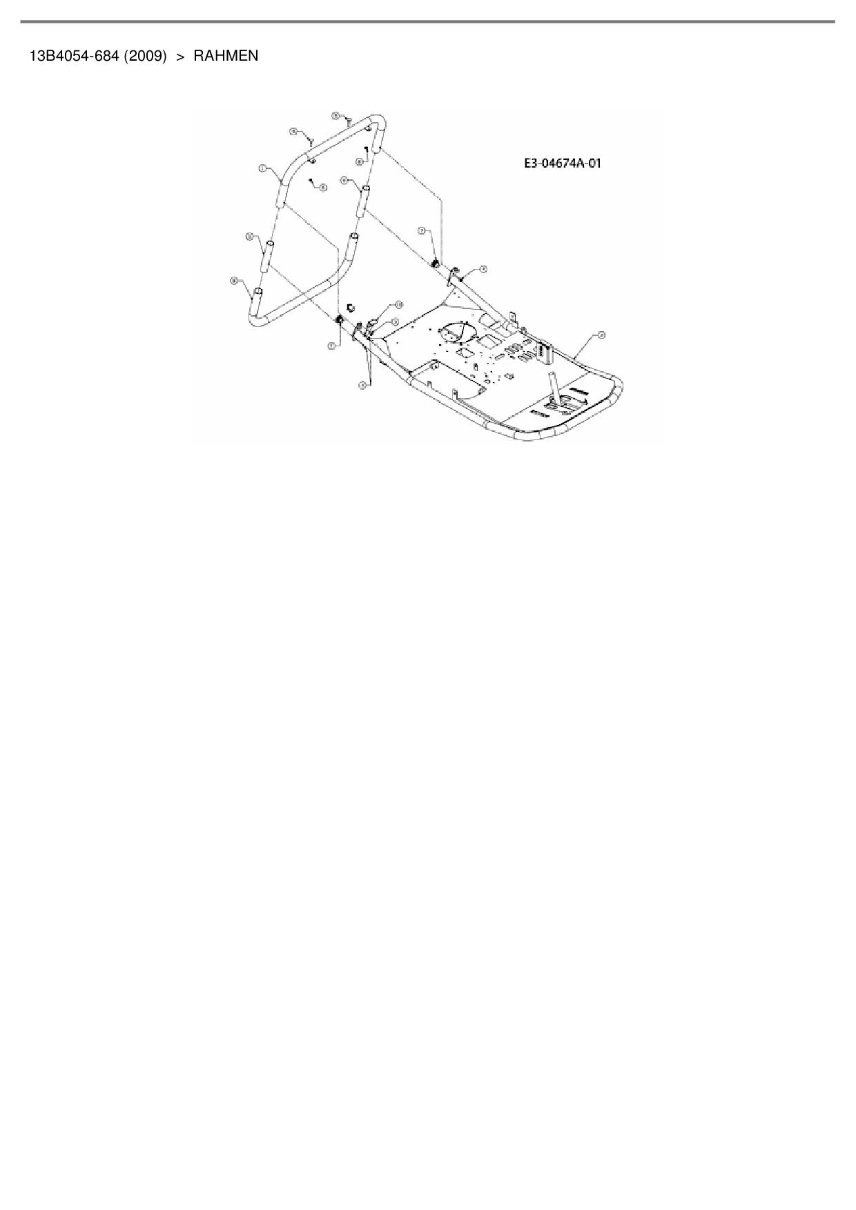 Ersatzteile von Bolens Rasentraktor BL 60 ME aus der Zeichnung Rahmen