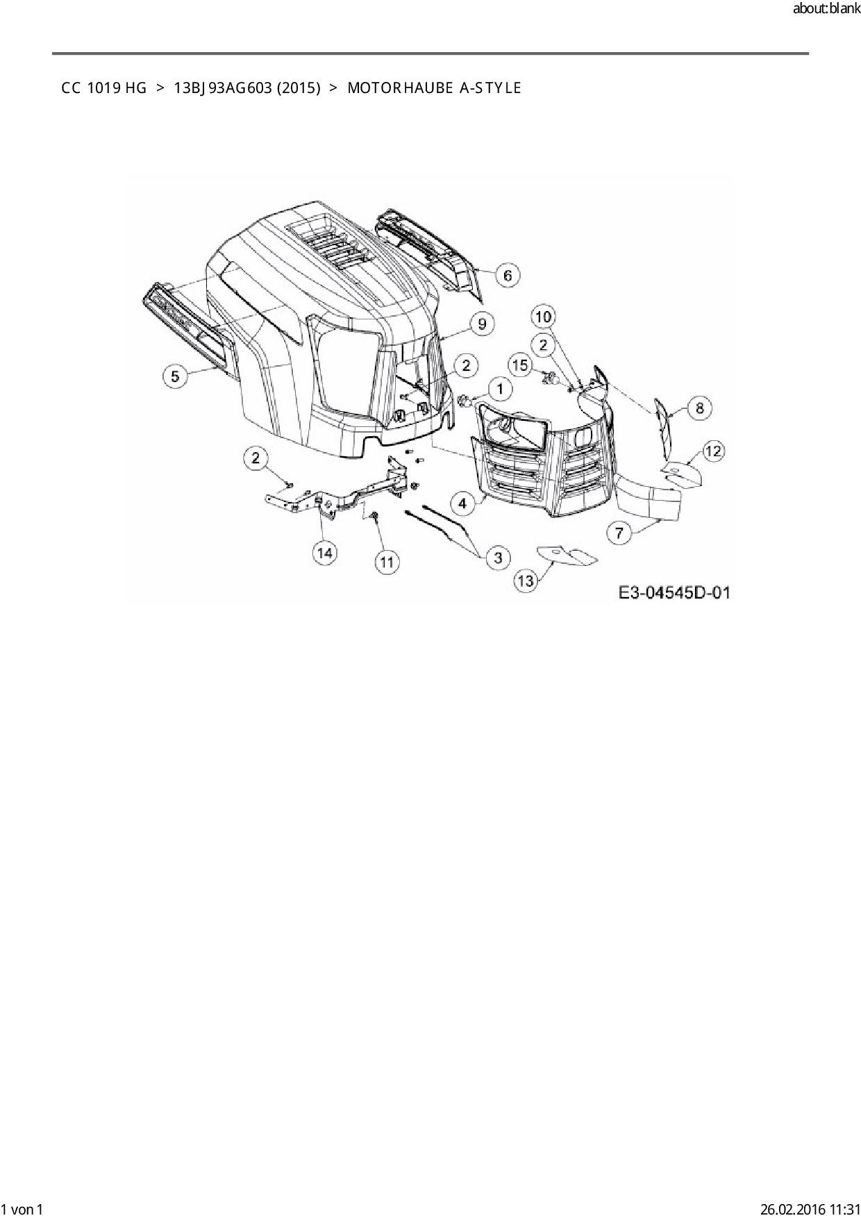 Ersatzteile von Cub Cadet Rasentraktor CC 1019 HG aus der Zeichnung M