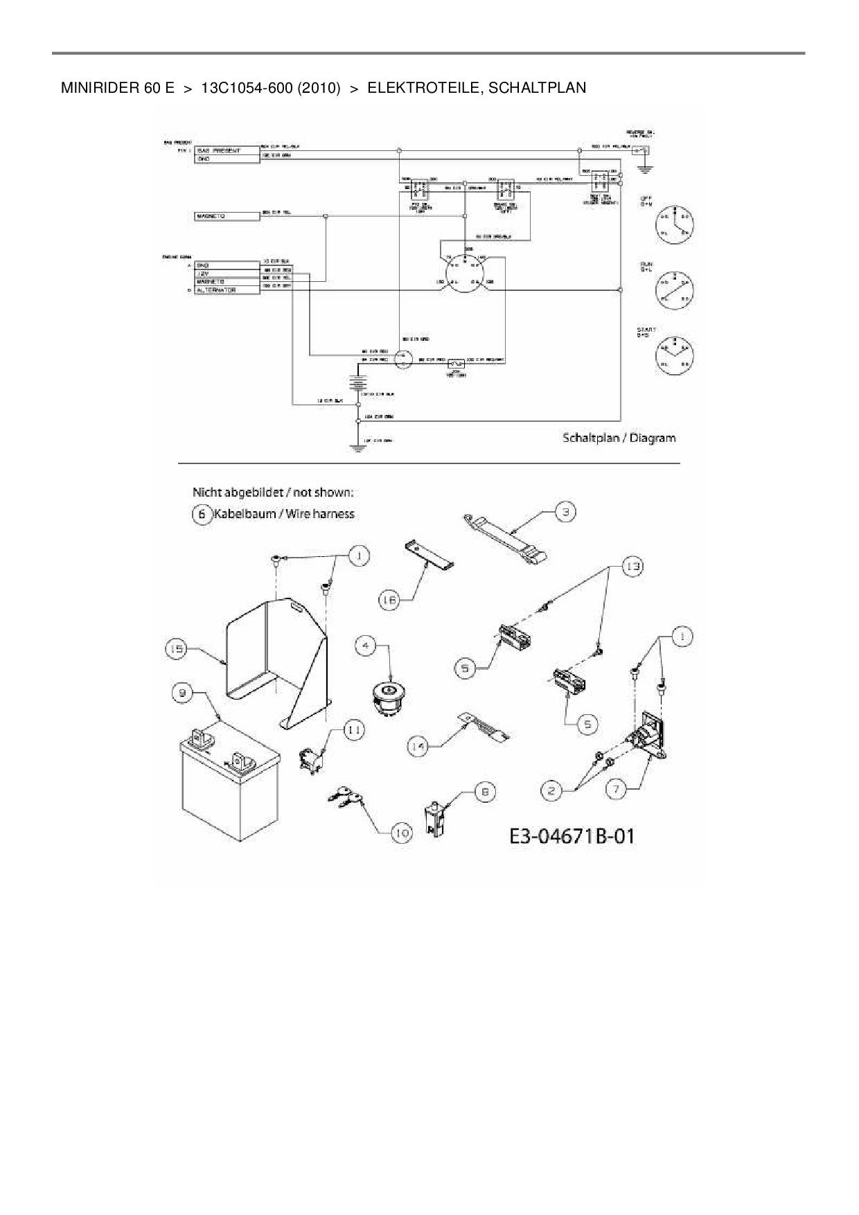 schaltung magnetschalter rasentraktor