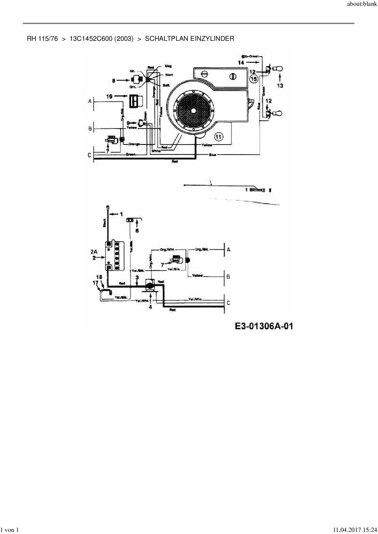 Ersatzteile Von Mtd Rasentraktor Rh 115 76 Aus Der Zeichnung Schaltpl Download The Schematic In Pdf Format Ersatzteil Schaltplan Einzylinder