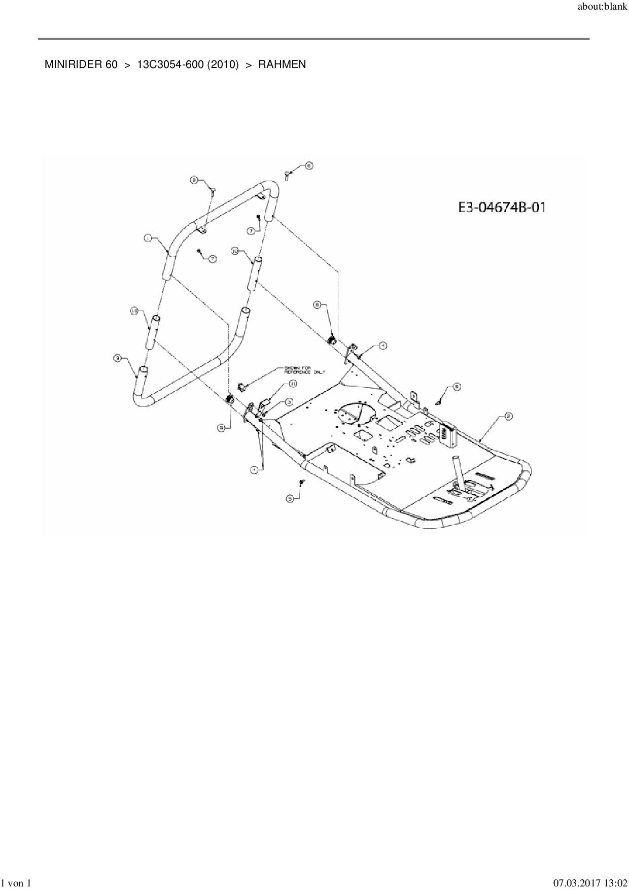 Ersatzteile von MTD Rasentraktor Minirider 60 aus der Zeichnung Rahme