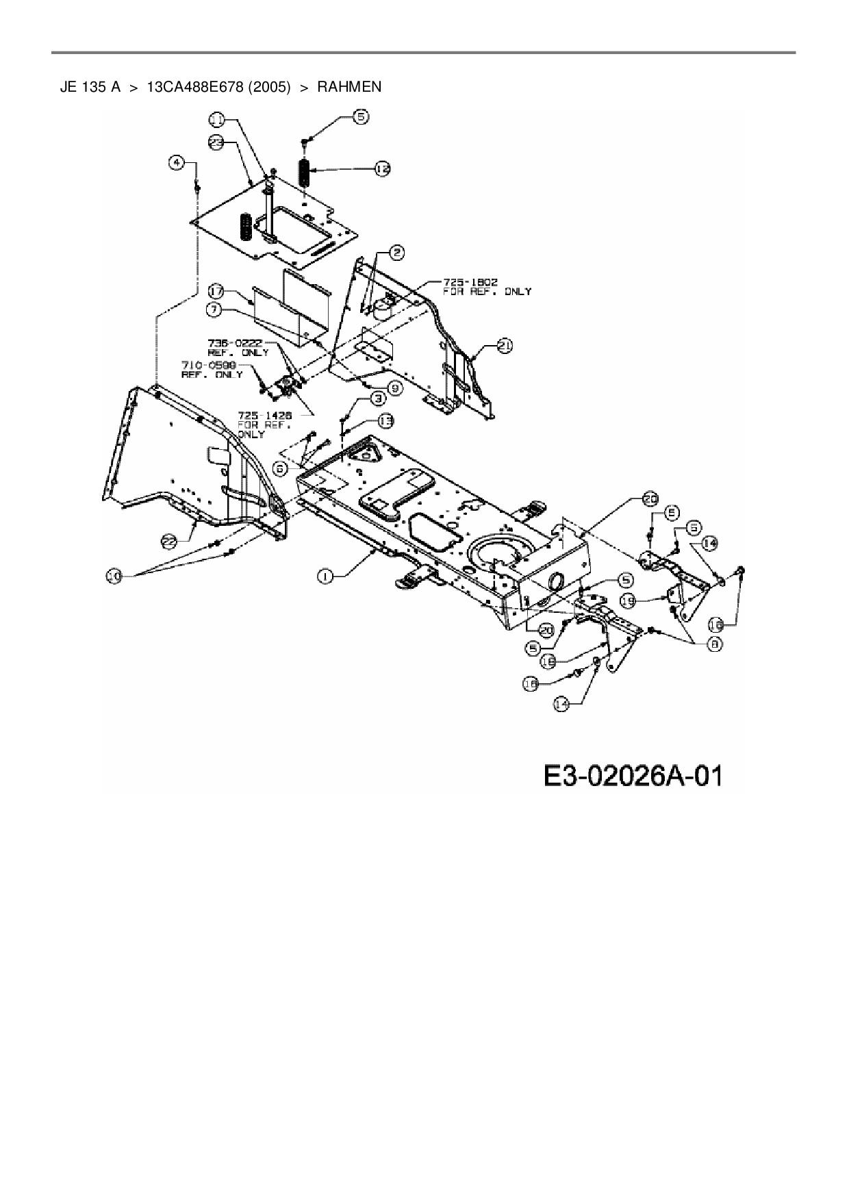 Ersatzteile von MTD Rasentraktor JE 135 A aus der Zeichnung Rahmen