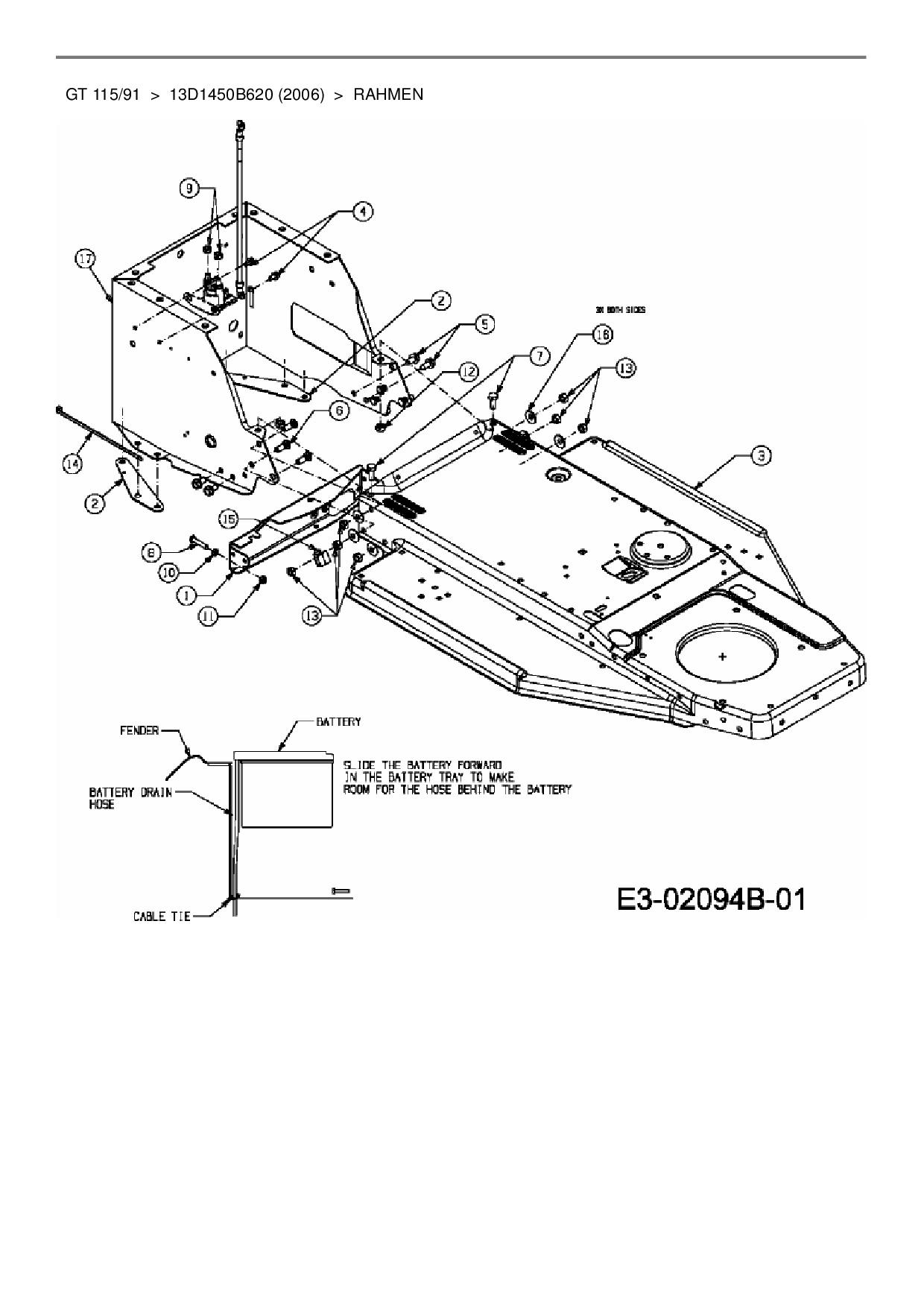 Ersatzteile von MTD Rasentraktor GT 115/91 aus der Zeichnung Rahmen