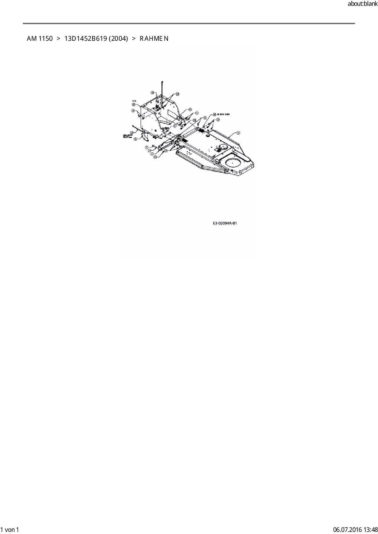 Ersatzteile von FLEURELLE Rasentraktor AM 1150 aus der Zeichnung Rahm
