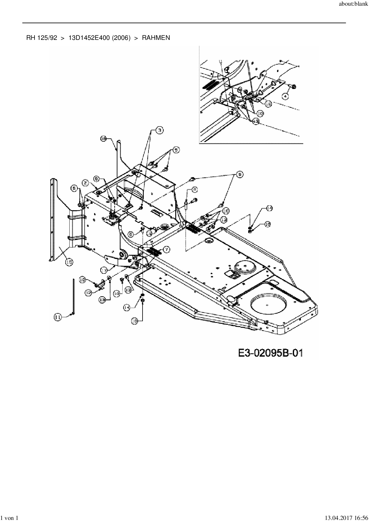 Ersatzteile von MTD Rasentraktor RH 125/92 aus der Zeichnung Rahmen