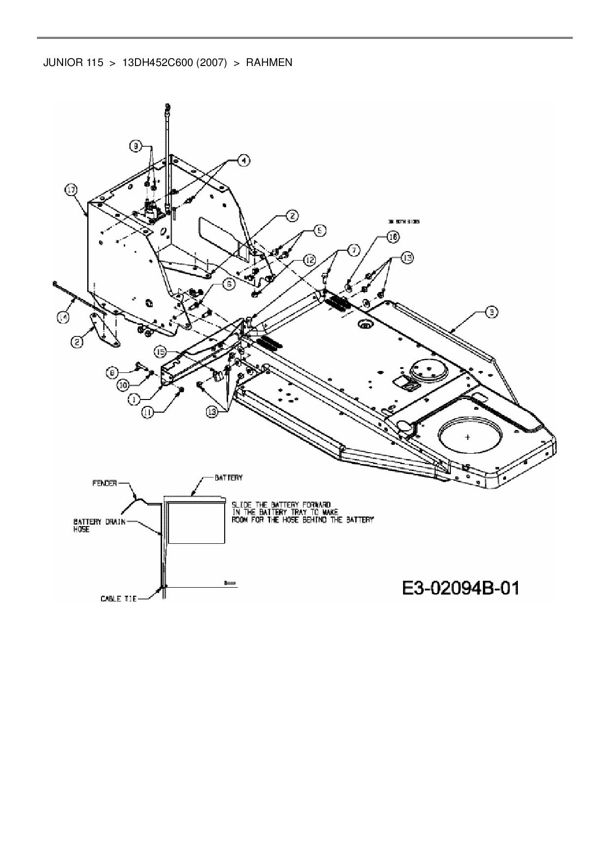 Ersatzteile von MTD Rasentraktor Junior 115 aus der Zeichnung Rahmen