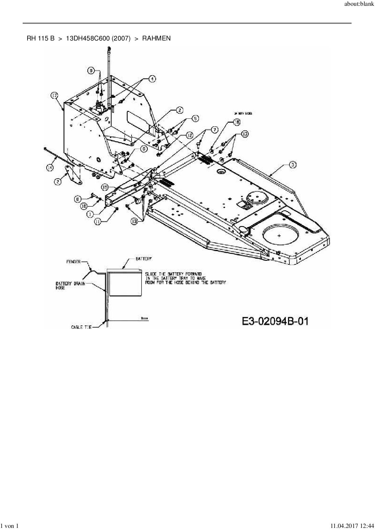 Ersatzteile von MTD Rasentraktor RH 115 B aus der Zeichnung Rahmen