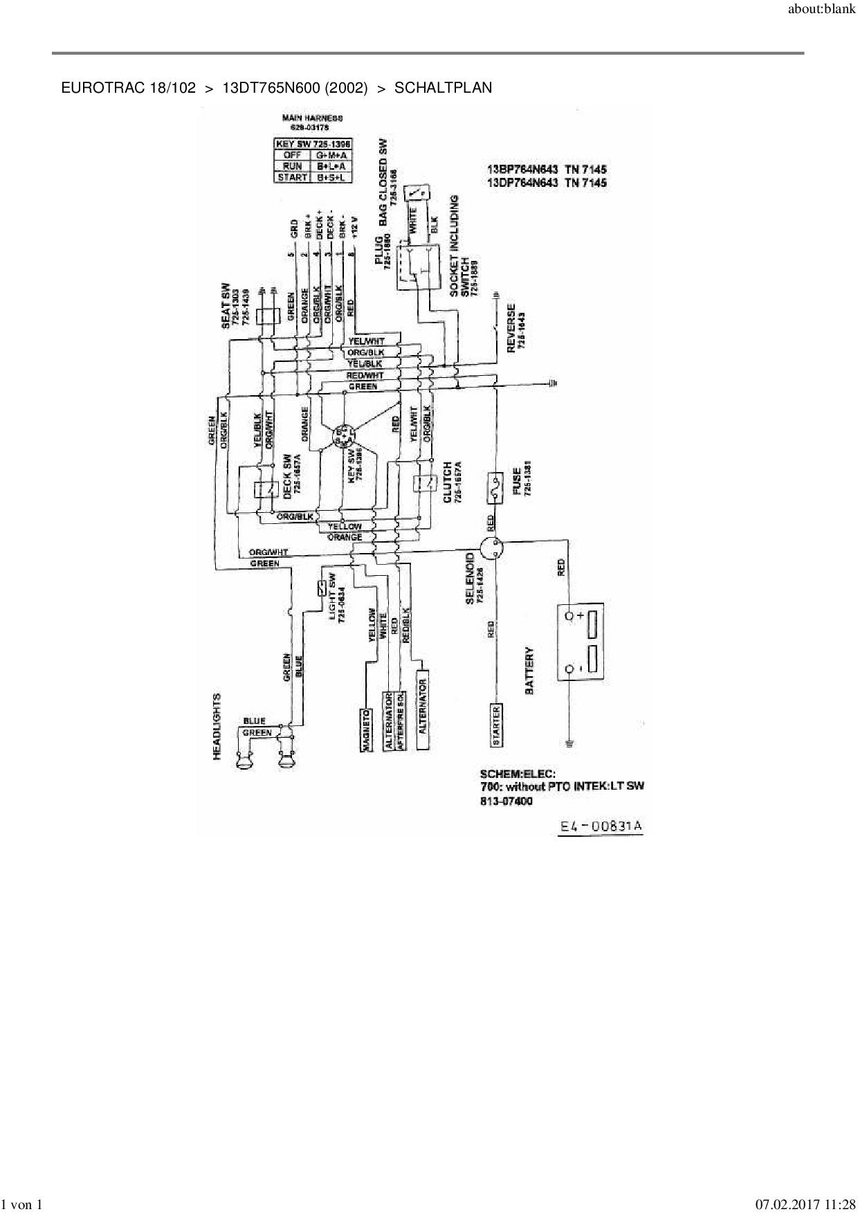 Ersatzteile von MTD Rasentraktor Eurotrac 18/102 aus der Zeichnung Sc
