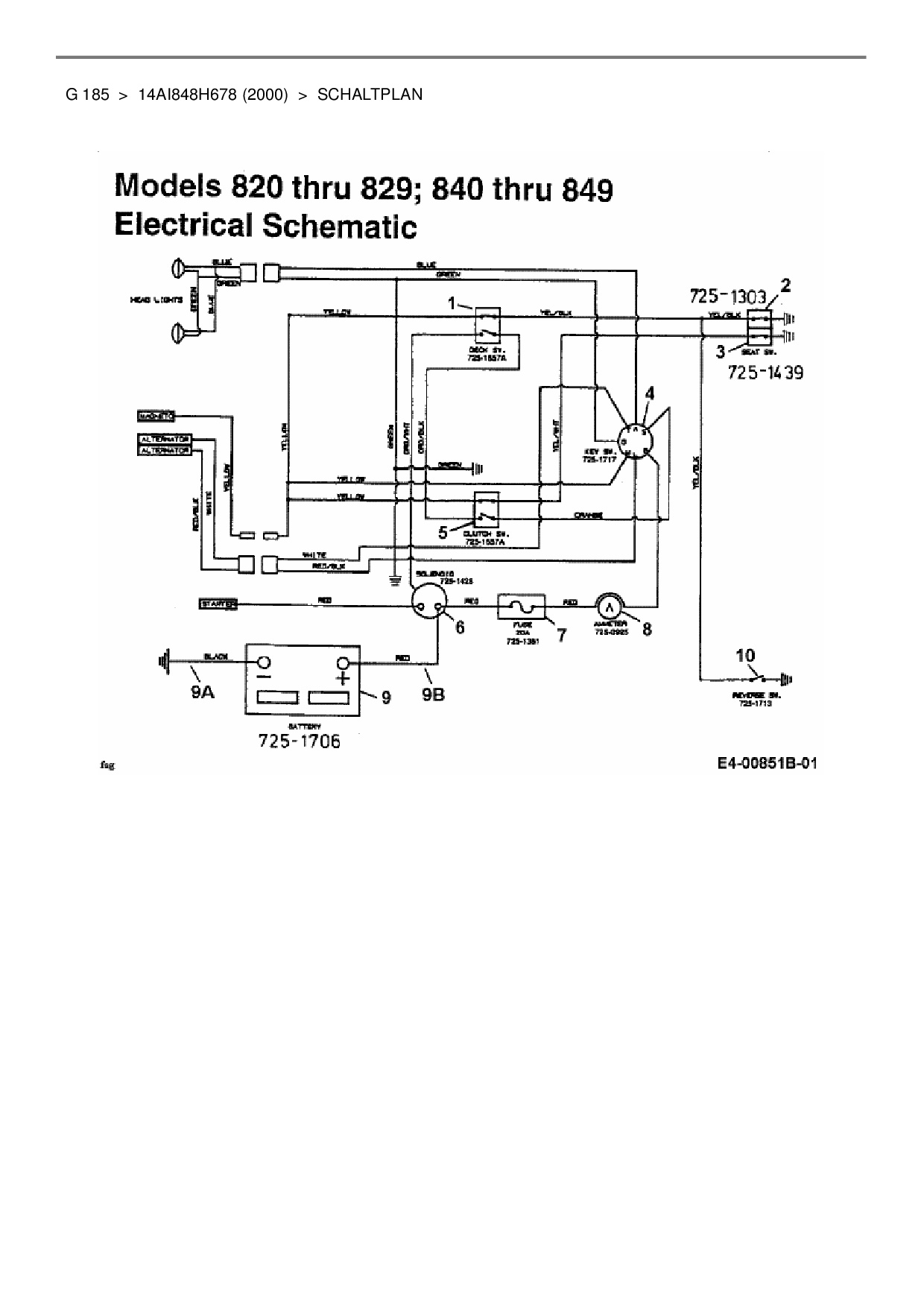 Ersatzteile von MTD Gartentraktor G 185 aus der Zeichnung Schaltplan