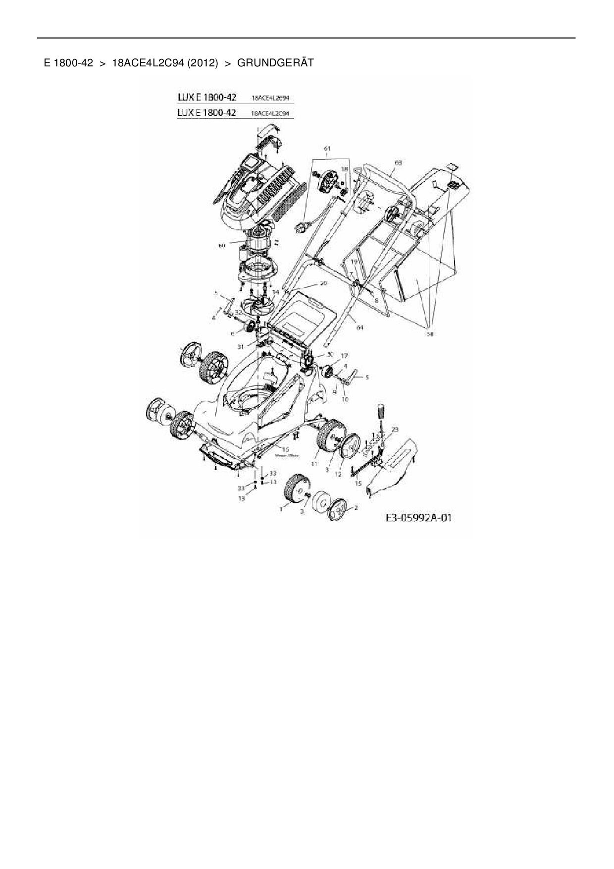 ersatzteile von lux tools elektrom her e 1800 42 aus der zeichnung gr. Black Bedroom Furniture Sets. Home Design Ideas