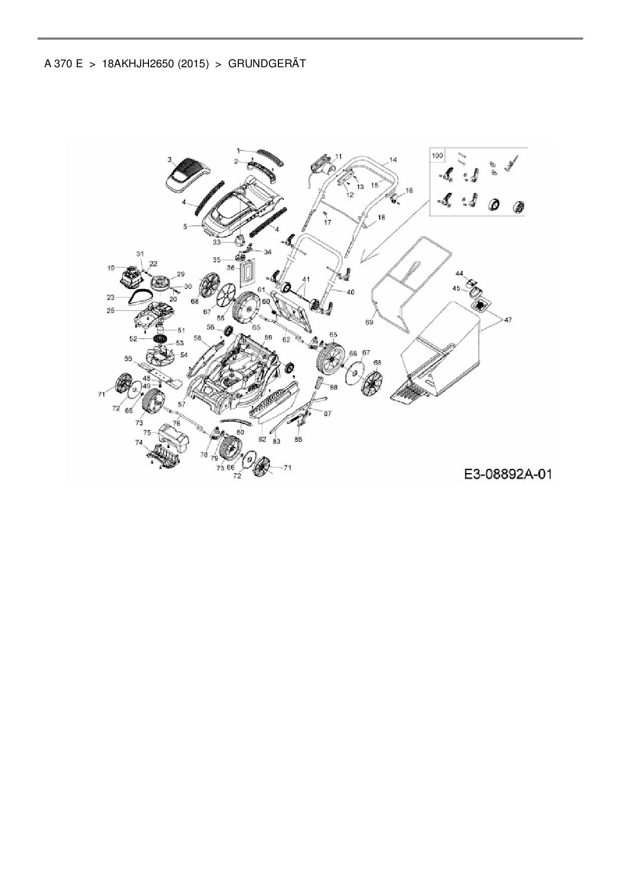 Ersatzteile Von Wolf Garten Elektromäher A 370 E Aus Der Zeichnung Gr