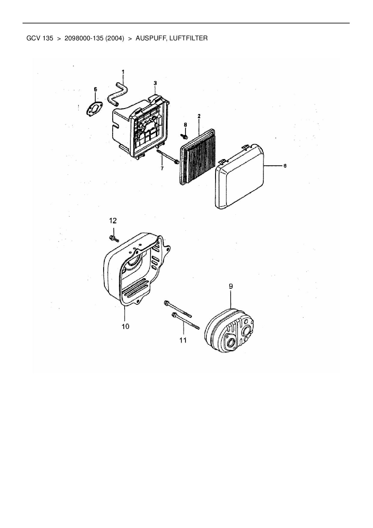 ersatzteile von wolf garten benzinmotor honda gcv 135 aus. Black Bedroom Furniture Sets. Home Design Ideas