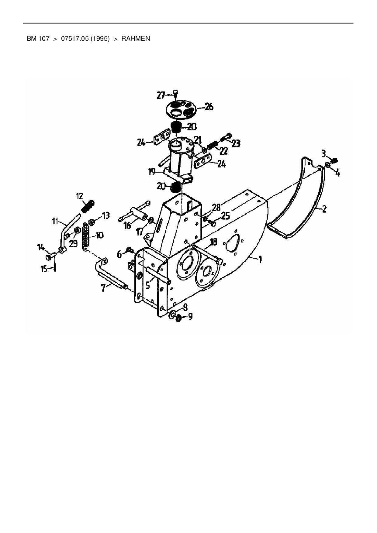 Ersatzteile von Gutbrod Balkenmäher BM 107 aus der Zeichnung Rahmen