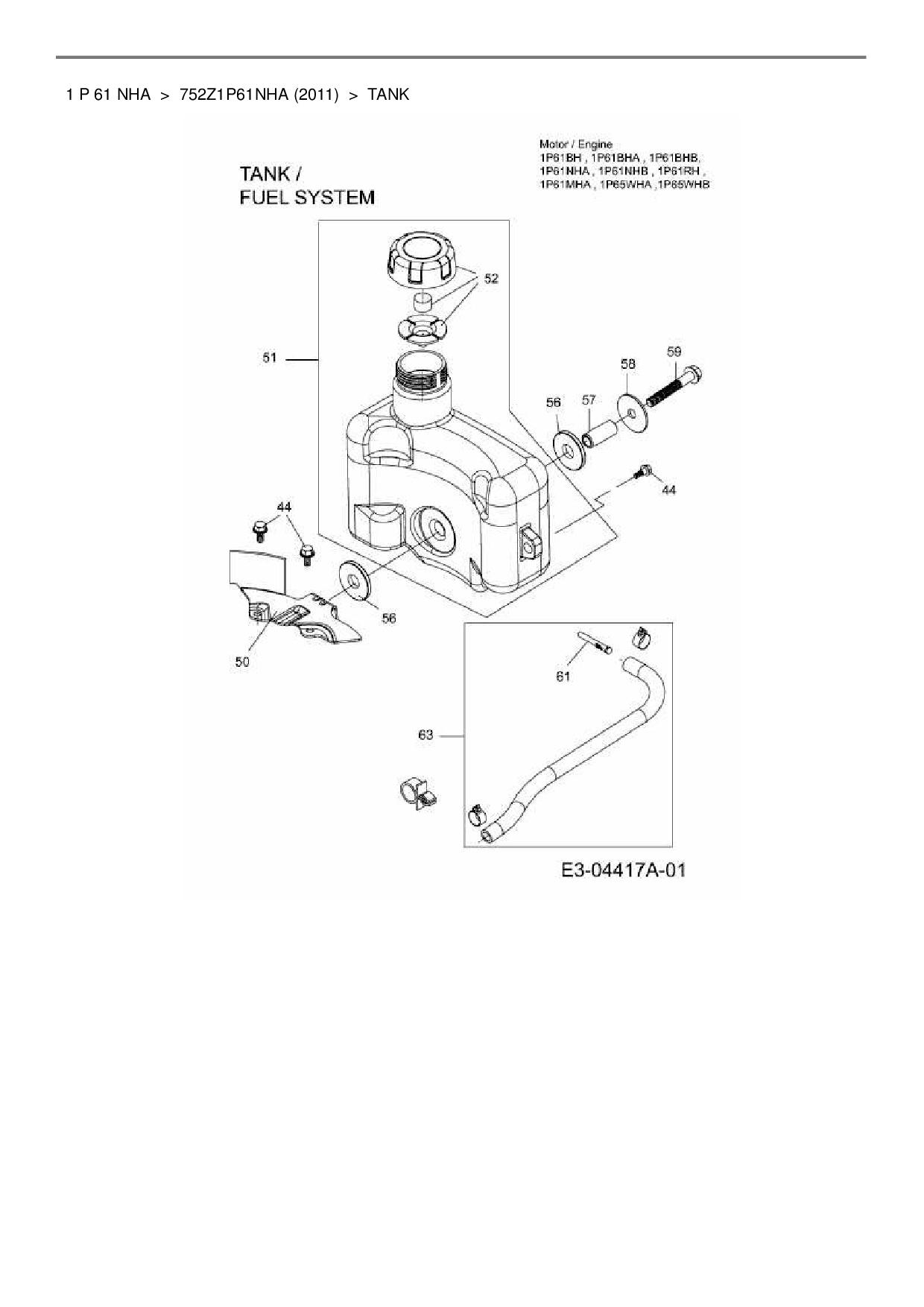 Wolf Garten Ersatzteil Kraftstofffilter Fr Benzinmotor Mtd 1 P 61 51 Engine Diagram Positionsnummer Aus Dieser Zeichnung