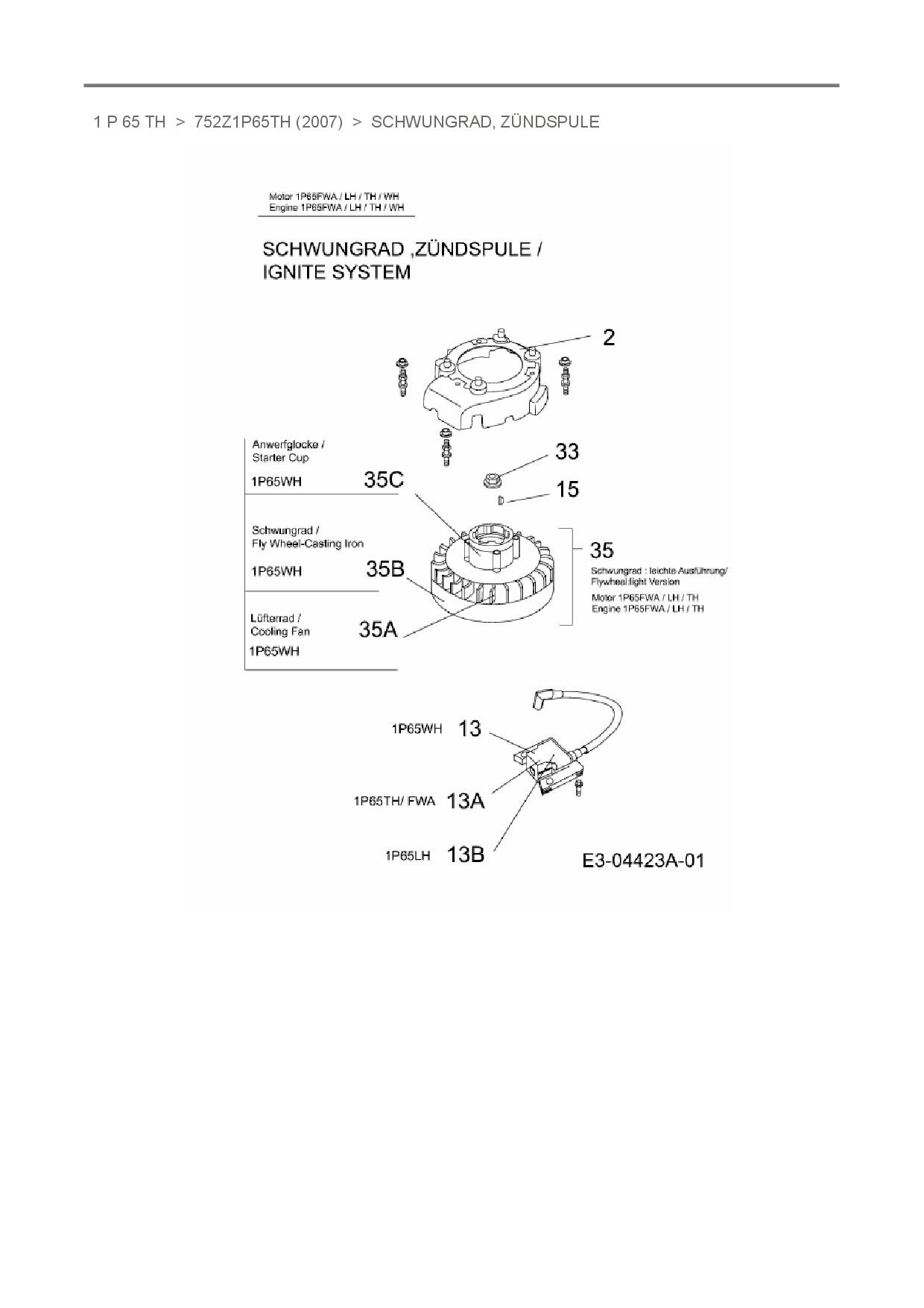 elektronische Zündspule Original Ersatzteil MTD OHV Motor 1P65-FW