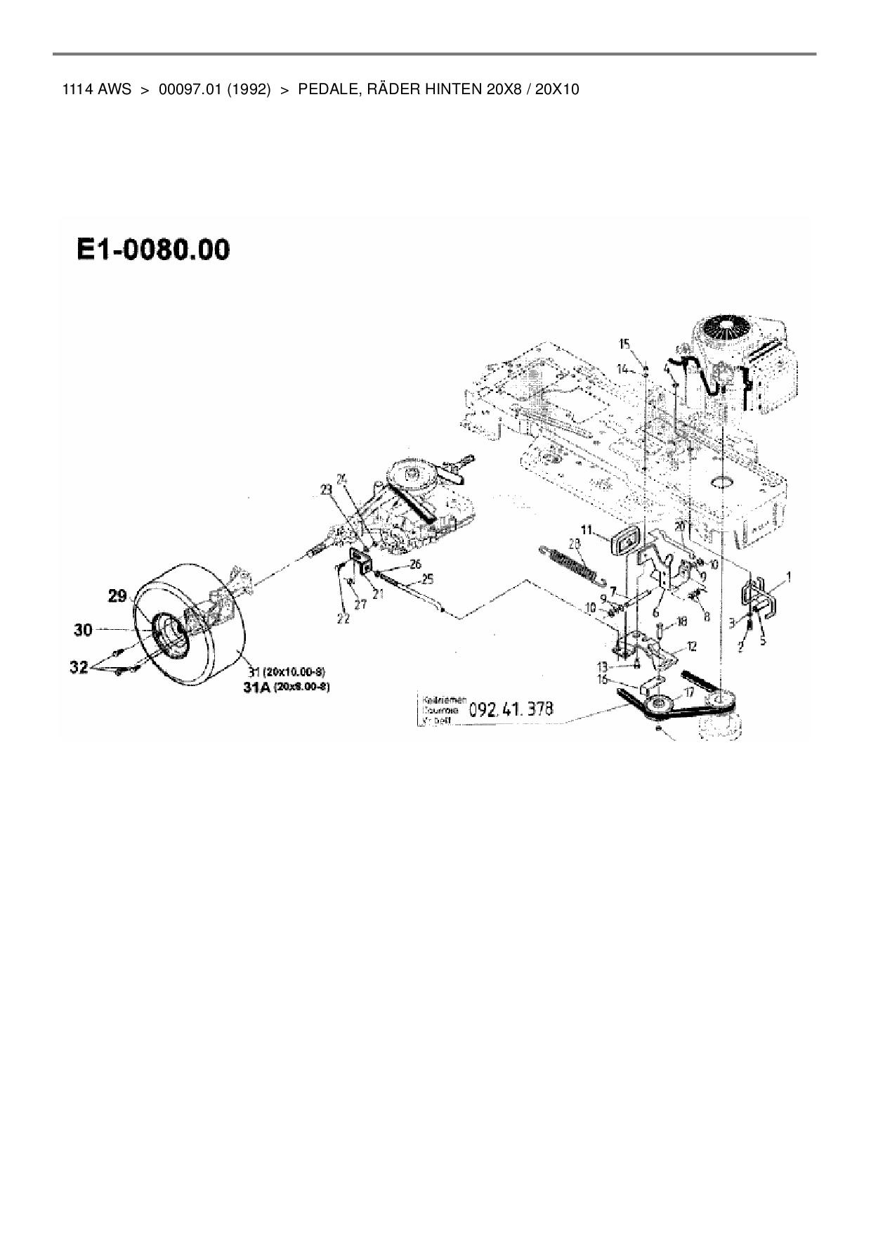 Keilriemen Fahrriemen passend Gutbrod 1114AWS Rasentraktor